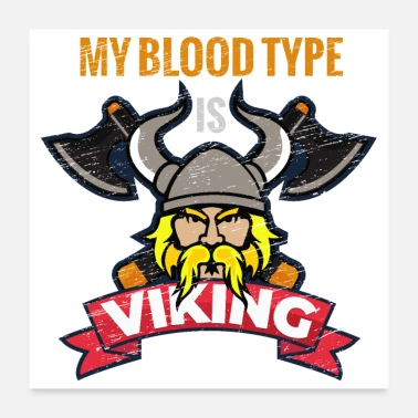 Axe My blood type is Viking with Axes Grunge - Poster 24 x 24 (60x60 cm)