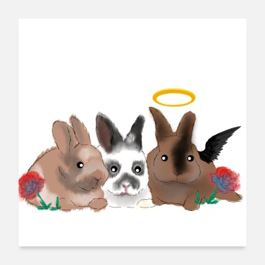 Rainbow Rabbit Bäbbels bambam and bounty - Poster 24 x 24 (60x60 cm)