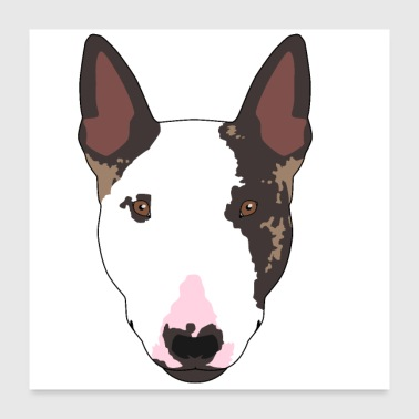 Fathers Day Bull Terrier Dog Gift Man Woman Terrier - Poster 24 x 24 (60x60 cm)