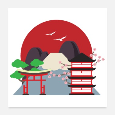 Seng Flad Design - Japan By Mount Fuji Sakura - Poster 60x60 cm
