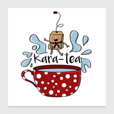 Jiu Jitsu Karatea karate tea teabag funny cartoon - Póster 60x60 cm