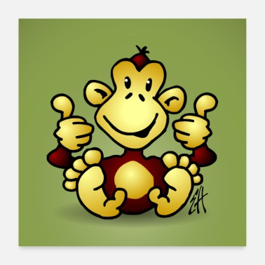 Green Thumb Monkey with his four thumbs up - Poster
