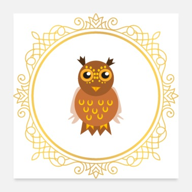 Christmas noble owl - Poster 24 x 24 (60x60 cm)
