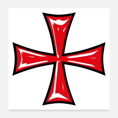 Kruisvaarders 13 Templar Cross Knight's Cross Crusader - Poster 60x60 cm