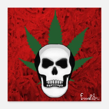 Bot schedel cannabis schedel - Poster 60x60 cm