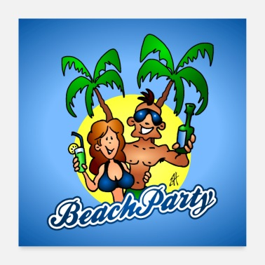 Bier Beach party - Poster 60x60 cm