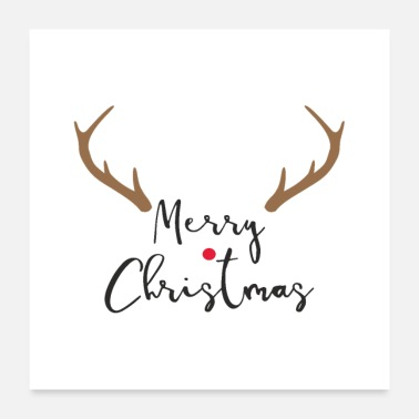 Nose Merry Christmas red nose reindeer antler decoration - Poster 24 x 24 (60x60 cm)