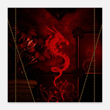 Chinois merveilleux dragon chinois rouge - Poster 60 x 60 cm