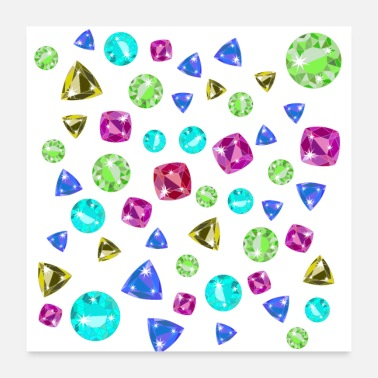 Briljante diamanten diamanten edelstenen game glamour bling - Poster 60x60 cm