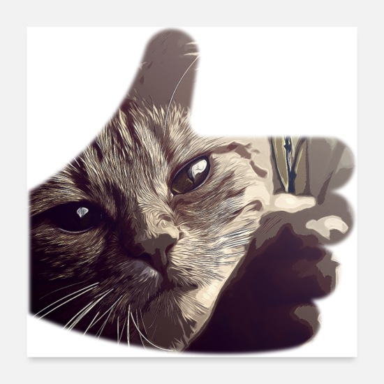 Pet Posters - gxp let your cat free vector art of course - Posters white