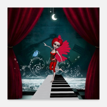 Tenor Cute fairy dancing on a piano with fantastic bird - Poster