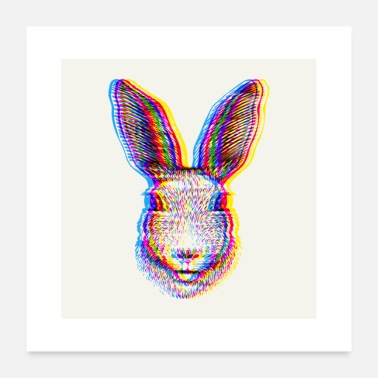Easter Bunny 3D Rabbit / Rabbit / Bunny Effect Print Square - Poster 24 x 24 (60x60 cm)