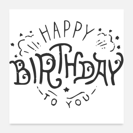 Birthday Posters - happy Birthday to you - Posters white