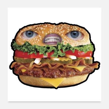 Hunger CRAZY FOOD HAMBURGUESA - Poster 24 x 24 (60x60 cm)