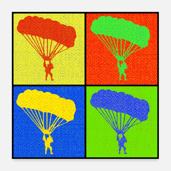 Gift Idea Posters - Paraglider four squares gift Pop Art - Posters white