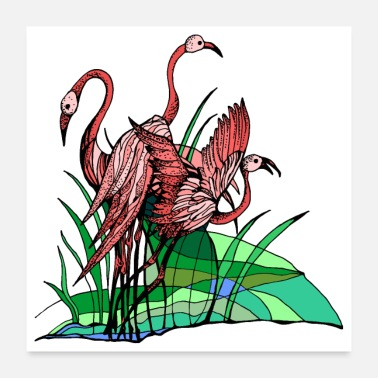 Perhe Flamingot - Juliste 60x60 cm