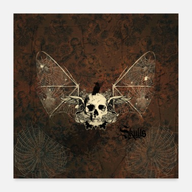 Fly Awesome skull with raven - Poster 24 x 24 (60x60 cm)