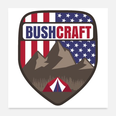 Wilderness Bushcraft USA US Flag Mountain Tent - Gift Idea - Poster 24 x 24 (60x60 cm)