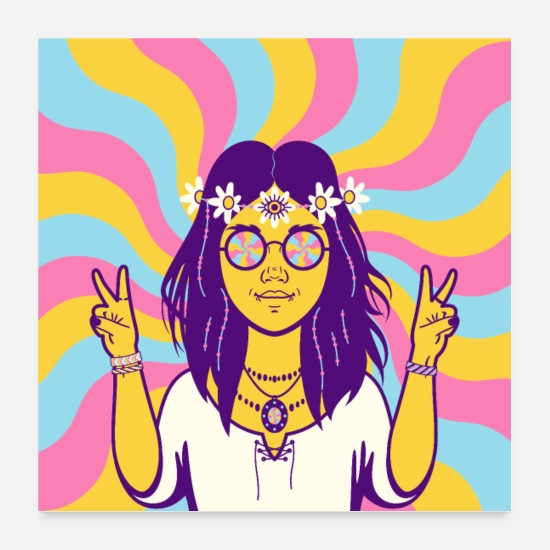 Gift Idea Posters - Hippy Girl Hippie Vintage Retro Flower Psychedelic - Posters white