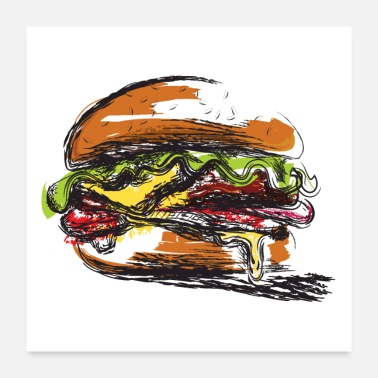 Hungry Hamburger-Padded Sandwich Poster - Poster