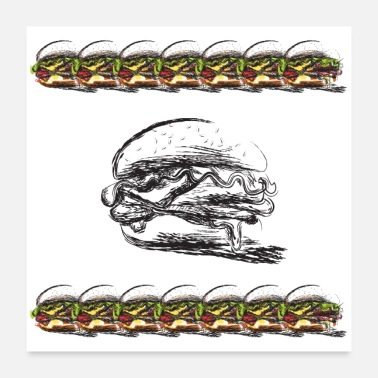 Hunger Hamburger-Sandwich filled fancy Poster - Poster 24 x 24 (60x60 cm)