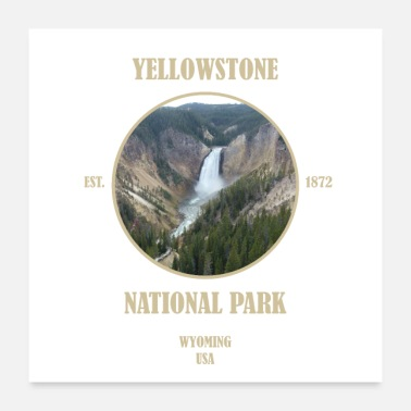 Staat Yellowstone Nationalpark Wyoming Bison Westen USA - Poster 60x60 cm