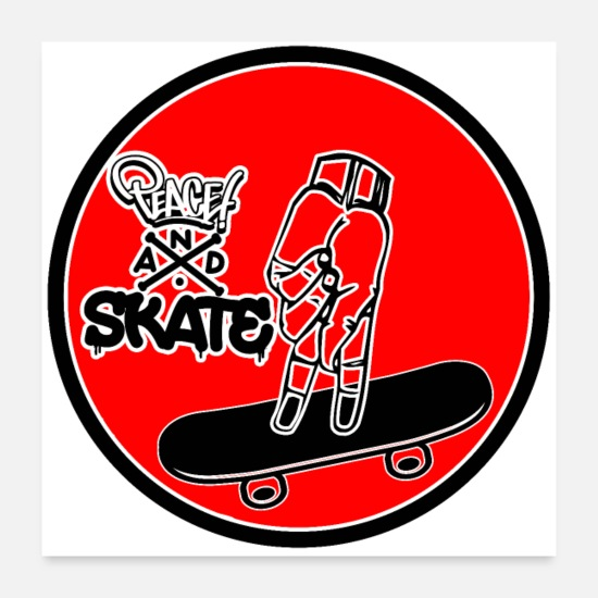 Skateboard Poster - Peace and skate - Poster bianco