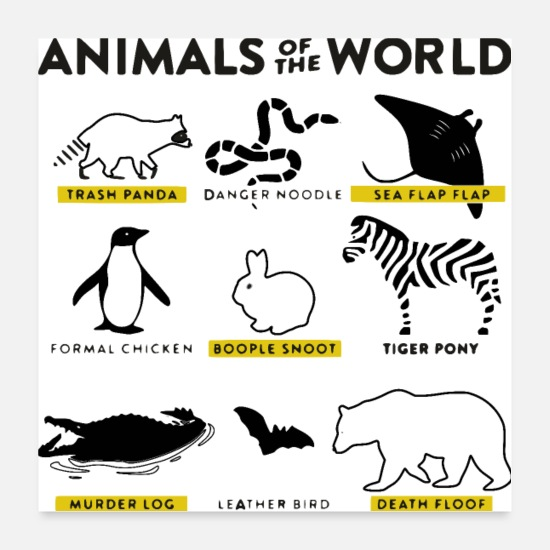 Animal Posters - Beasts of the world - And what they really mean - Posters white