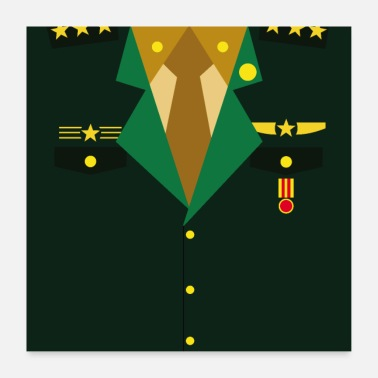 Award Dark green military uniform with medal - idea - Poster