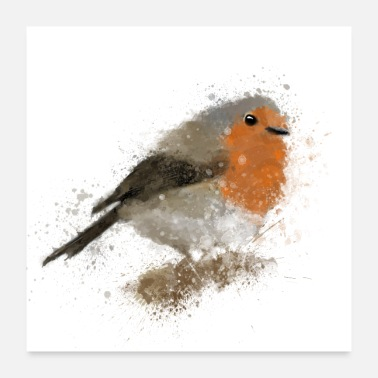 Watercolour Watercolour Robin in the Snow - Poster 24 x 24 (60x60 cm)