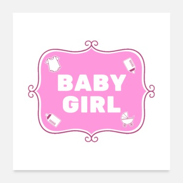 Pregnancy Baby Girl - Pink - English - Poster 24 x 24 (60x60 cm)