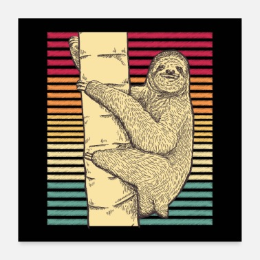 Old School Sloth retro vintage loafers dovenskab gave - Poster 60x60 cm