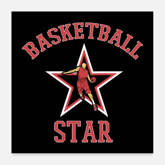 Basketball Posters - Basketball Star Basketballer Speler Fan Gift - Posters wit