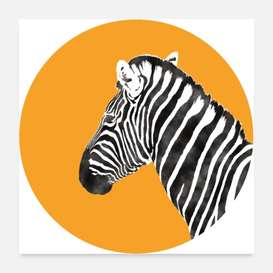 Hipster Poster - Zebra T-Shirt Wasserfarbe - watercolor - Poster Weiß