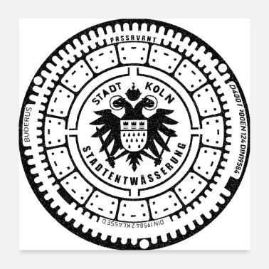 B Day Cologne Eagle Coat of Arms Gully Gulli Gift Gullideckel - Poster 24 x 24 (60x60 cm)