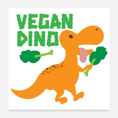 Orange Sweet Vegan Dinosaur Broccoli Gift - Poster