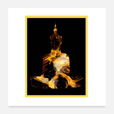 Buddhism Buddha in gold - Thailand - India - Buddhism - Poster 24 x 24 (60x60 cm)