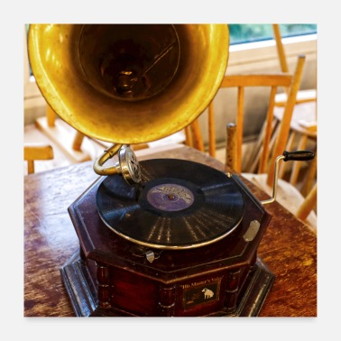 Antique old-fashioned gramophone antique - Poster