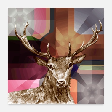 Stag Deer king of the forest - Poster 24 x 24 (60x60 cm)
