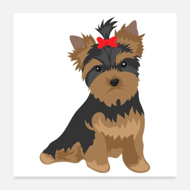 New Year Favorite Dog - Yorkshire Terrier red bowknot - Poster 24 x 24 (60x60 cm)