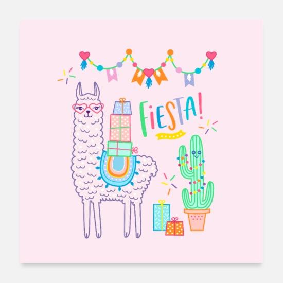 f1c46f8d980 Jul Posters - Lama Plakat Pink Fiesta Party Fødselsdag Gave - Posters hvid