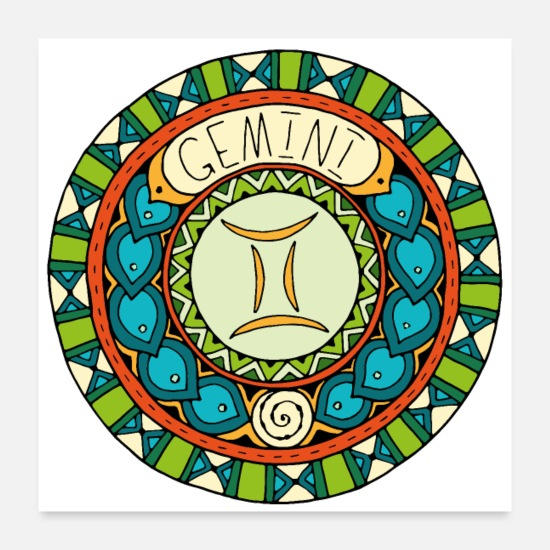 Birthday Posters - Gemini zodiac sign - Posters white