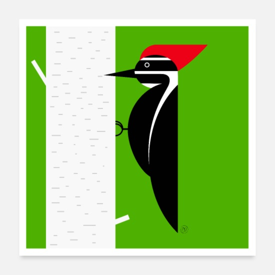 Friendly Posters - Woodpecker poster - Posters white