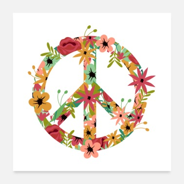 Girls Peace Hippie Flower Power - Poster