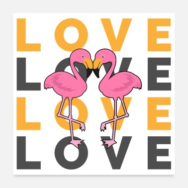 Bryllupsfest Flamingo In Love - Gaveidee - Poster