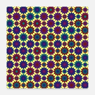 Bloom Blue purple and mauve flower pattern - Poster 24 x 24 (60x60 cm)