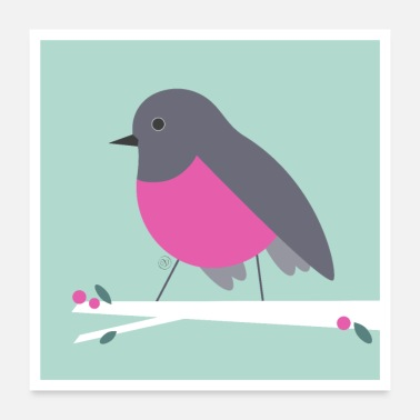 Form Rose Robin - Birdie Poster - Poster 24 x 24 (60x60 cm)