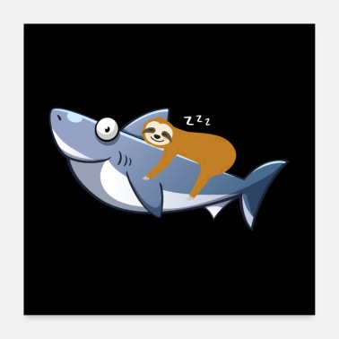 Trend Sloth Riding Shark Funny Trend - Poster
