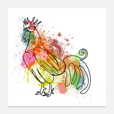 Rooster Rooster Watercolour - Poster