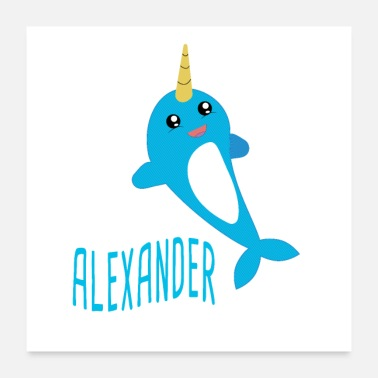 First Name Alexander, narwhal, birthday, name, baby gift - Poster